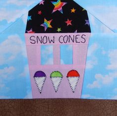 Snow Cone or Shaved Ice Stand Paper Pieced Block | Craftsy