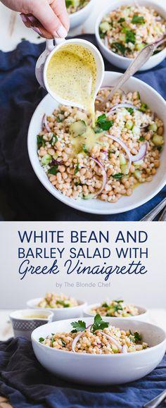White Bean and Barley Salad with Greek Vinaigrette                                                                                                                                                                                 More