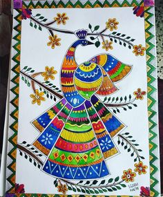 Items similar to Madhubani Painting on Etsy Madhubani Paintings Peacock, Madhubani Art, Indian Art Paintings, Doodle Art Drawing, Mandala Drawing, Mandala Art, Worli Painting, Bubble Painting, Peacock Wall Art