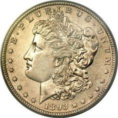 Morgan Dollars, 1893-S $1 MS60 PCGS....