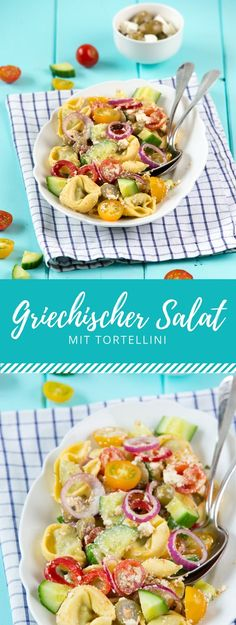 Italy meets Greece This tortellini salad Greek Style brings you the Rezepte Easy Salad Recipes, Easy Salads, Healthy Recipes, Healthy Eating Tips, Healthy Nutrition, Greek Tortellini Salad, Dinner Party Recipes, Greek Salad, Greek Recipes