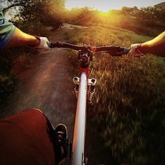 Riding into the sunset in Corpus Christi, TX - Remember to brush off equipment before entering and upon leaving trails to prevent the spread of invasive species. Photo: Mike Cartier via GoPro