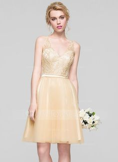 [US$ 129.99] A-Line/Princess V-neck Knee-Length Tulle Bridesmaid Dress With Ruffle Beading Sequins (007094026)