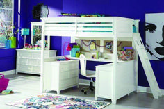 Browse the largest selection of online bunk beds, utilize the space and add more fun to your kid's bedroom. We are pleased to offer high quality bunk beds in variety of styles and colors. Loft Bed Desk, Bunk Bed With Desk, Bunk Beds With Stairs, Kids Bunk Beds, Bedroom Loft, Kids Bedroom, Bedroom Ideas, Kids Rooms, Childrens Bedroom