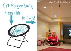 Holly's Arts and Crafts Corner: DIY Project: Basement Bungee Swing (sensory swing) Arts And Crafts For Teens, Art And Craft Videos, Bungee Chair, Sensory Therapy, Sensory Rooms, Sensory Activities, Ana White, Craft Corner, Arts And Crafts Movement