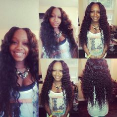 Full sew in with three bundles of brazillian deep wave