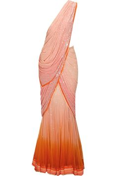 Peach pink shaded sequins embroidered concept sari with beige crystal work blouse available only at Pernia's Pop-Up Shop.