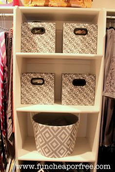 Use bins in your closet to store underwear, bras, belts, tanks, etc. rather than stuffed in a drawer (these boxes were 2 for $5!)...+ tons of other clever organization solutions to make your life MUCH easier! #organize #funcheaporfree