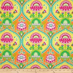 Michael Miller Lavinia Sorbet from @fabricdotcom  Designed for Michael Miller, this cotton print fabric is perfect for quilting, craft projects, apparel and home décor accents. Colors include lime, turquoise, orange, hot pink, white and yellow.