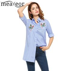 24c2ef2f732 Meaneor Shirt Blouse For Women atacado roupas femininas 2017 embroidery  Striped Casual Bird Pattern 3 4 Sleeve Loose Shirt  dress  fashion  платье   кружево ...