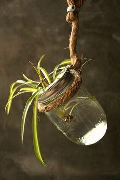 Shabby Chic Decor Mason Jar Wall Decor Hanging Glass Vase Cottage Style - Rustic Rope Design