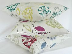 Allium flower cushion cover teal aubergine lime