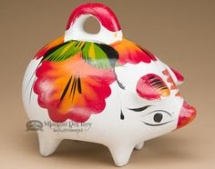 Cute bank for adding great southwest style to kids rooms. Hand Painted Mexican Pottery Piggy Bank -Red