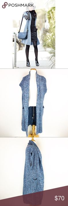 Cabi Napa Long Duster Knit Sweater Vest Style 3165 Gorgeous blue knit long vest by Cabi. Perfect layering piece to add to any outfit. Excellent preowned condition. Features pockets and an open front.   Measurements; provided as a courtesy only- not a guarantee of fit. Approximate measurements when laid flat are- Pit to Pit: 23in Length: 34.5in  If you have any questions please feel free to ask!💕 CAbi Sweaters