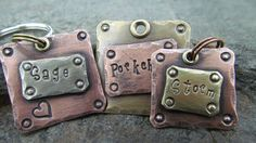 Small Pet Tag - Pet ID Tag - Collar Tag -  Mixed Metals Copper, Brass, or Nickel Silver Dog Tag. $9.00, via Etsy.