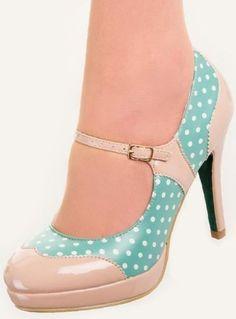 Mary Jane Shoes by Banned Polka Dot Rockabilly Heels Beige Mint Green 6 7 8 Pretty Shoes, Beautiful Shoes, Cute Shoes, Me Too Shoes, Beautiful Images, Mary Jane Heels, Mode Pin Up, Vintage Shoes Women, Shoe Boots