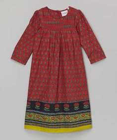 Red Floral Smocked Shift Dress - Toddler & Girls by Yo Baby - Great dress! - #zulily! #zulilyfinds