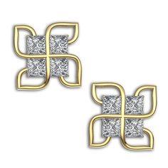 Kirtilals 18k Yellow Gold and Diamond Stud Earrings #Kirtilals #jewellery #gold #diamonds #classy #bling #earrings