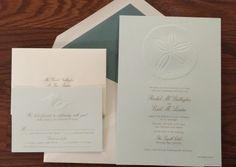 Wedding Invitations for destination wedding with beach inspired sand dollar