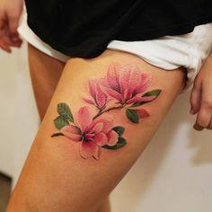 44 beautiful magnolia tattoo designs floral tattoo designs п Marigold Tattoo, Peony Flower Tattoos, Poppies Tattoo, Beautiful Flower Tattoos, Floral Tattoos, Geometric Tattoo Design, Floral Tattoo Design, Baby Tattoos, Rose Tattoos