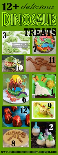 12 really creative and yummy Dinosaur snacks for kids from preschool and kindergarten through elementary age kids.