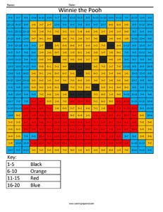 Winnie the Pooh- Practice Addition Answer Key
