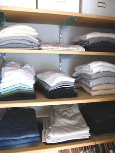Instead of a dresser, organize clothes on closet shelves. Chez Larsson.