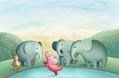Childrens book called Plush Stories by Sibillina publishing house. Simple Illustration, Children's Book Illustration, Illustrations, Elephant Love, Elephant Art, Big Animals, Beautiful Artwork, New Art, Creations