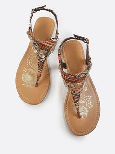 c11aeaea3 Shop Tribal Print Gold Anklet Sandals RUST MULTI online. SheIn offers  Tribal Print Gold Anklet