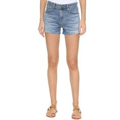 AG The Sadie High Rise Shorts ($190) ❤ liked on Polyvore featuring shorts, high waisted cut off shorts, ag adriano goldschmied, highwaist shorts, cut-off shorts and high waisted zipper shorts