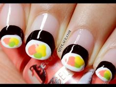 I LOVE SUSHI! do you like sushi too? I decided to create a very VERY easy version of sushi so that everybody can create the look! It's so easy and quick. Tough As Nails, Crazy Nails, Fun Nails, Nice Nails, Weird Nails, Halloween Nail Designs, Halloween Nail Art, Halloween Ideas, Halloween Costumes
