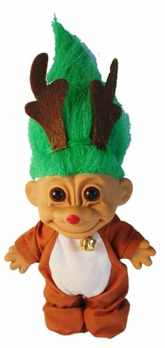 "Troll Doll Reindeer Christmas Troll with Green Hair by Russ 4.5"" tall by creationsbycaradonna on Etsy"