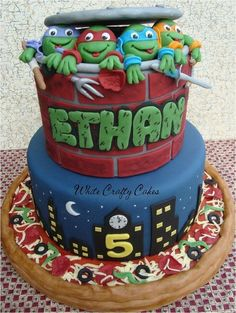 Ninja Turtles Cake.. Wow this is a sign!! Says Ethan and the number 5 for his right age he will be turning!! Would love to find someone who could do this!!??