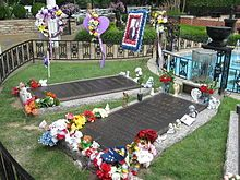 The final resting place of Elvis Presley on the grounds at Graceland.  Memphis, TN
