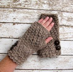Crocheted Fingerless Gloves Taupe Gloves by CreativeDragonfly, $35.00