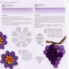 Mes favoris Tricot-Crochet: Tutos : Fleurs au crochet Grapes rose flower crochet pattern