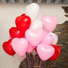 These adorable balloons are perfect for Valentine's Day parties, bridal showers, anniversary celebrations and weddings. Each balloon can be inflated to approximately 12 inches. Each order includes 10 white balloons, 10 pink balloons and 10 red balloons. Wedding Balloon Decorations, Wedding Balloons, Birthday Decorations, Wedding Decoration, Heart Balloons, Helium Balloons, Latex Balloons, White Balloons, Valentines Day Birthday