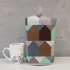 Coffee cozy with little houses by LoneHDesign on Etsy