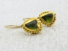 Gold Earrings  Peridot Earrings  24k Solid Gold Earrings by Omiya, $390.00