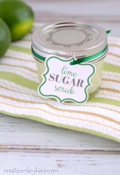 How to make Lime Sugar Scrub in just 5 minutes. Makes a great last minute gift!