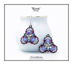 Bead pattern Tutorial DIY Runa earrings realized with new Kheops beads, Rulla, MIniduo, Swarovski, seed beads