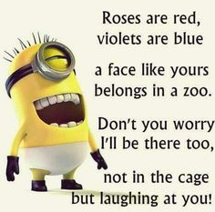 "Hilarious and Funniest Minion Jokes here are few very funny and accomplished Memes, which will surely make you laugh for whole day. So scroll down and keep reading these ""Top Clean Minion Jokes – Insane Memes & Insane humor"". Funny Minion Pictures, Funny Minion Memes, Funny School Jokes, Some Funny Jokes, Really Funny Memes, Crazy Funny Memes, Minions Quotes, Funny Facts, Minion Humor"