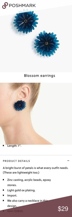 J. Crew Blossom Earrings NWT J. Crew Blossom Earrings.  Gorgeous, deep blue color.  Selling right now on the web site for $33 on sale. J. Crew Jewelry Earrings