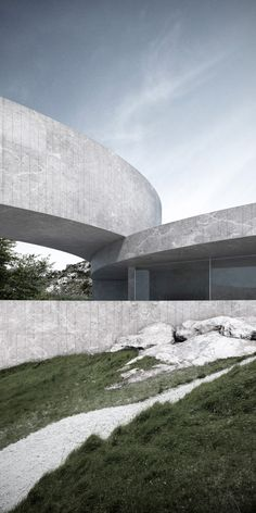 Curving blocks overlap to create the sinuous form of this conceptual house, designed by Fran Silvestre Arquitectos to frame seven tiered gardens in Spain Modern Architecture House, Modern Buildings, Modern House Design, Amazing Architecture, Architecture Design, Light Architecture, Concept Architecture, Art Nouveau, Landscape Model