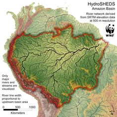 HydroSHED of the Amazon - high-resolution elevation data used to create a global hydrological ... / ©: WWF, U.S. Geological Survey, ICTA, TNC, University of Kassel