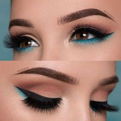 The Smokey Eye Make-up is perfect for the shape of your eyes . - Make-up - # . , The Smokey Eye Make-up is perfect for the shape of your eyes . - Make-up - Makeup Eye Looks, Cute Makeup, Smokey Eye Makeup, Eyeshadow Makeup, Beauty Makeup, Gorgeous Makeup, Teal Makeup, Blue Eyeliner, Makeup Brushes