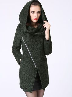 Modern Mini Wool Coat with Asymmetrical Front Zipper and Snood Hood - Forest Woodland Green (1056) by xiaolizi on Etsy https://www.etsy.com/listing/51325520/modern-mini-wool-coat-with-asymmetrical