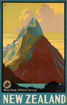 New Zealand, Mitre Peak Travel Poster - 3 sizes available, one low price.