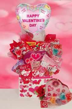 Precious Girl Valentine Bouquet | Buy at All About Gifts & Baskets (http://www.aagiftsandbaskets.com/think_pink_valentine_candy_bouquet.html)