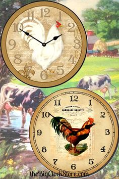 Check out our collection of Rooster clocks.  http://thebigclockstore.com/product-category/category/rooster-clocks/
